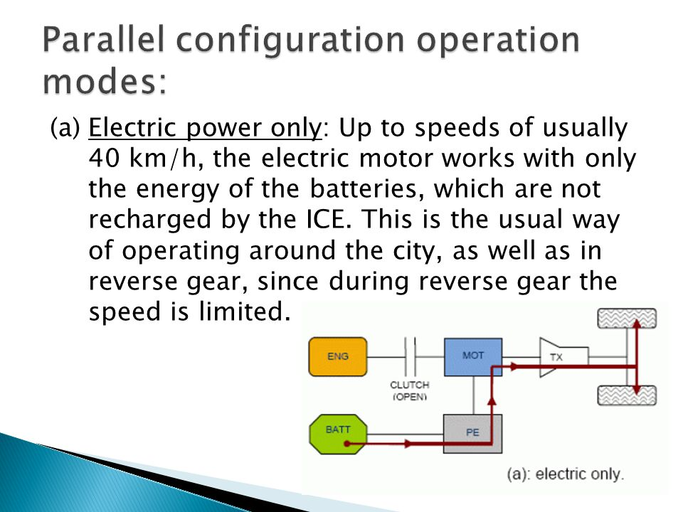 (a) Electric power only: Up to speeds of usually 40 km/h, the electric motor works with only the energy of the batteries, which are not recharged by t