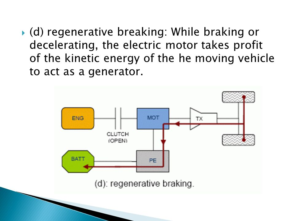 (d) regenerative breaking: While braking or decelerating, the electric motor takes profit of the kinetic energy of the he moving vehicle to act as a g