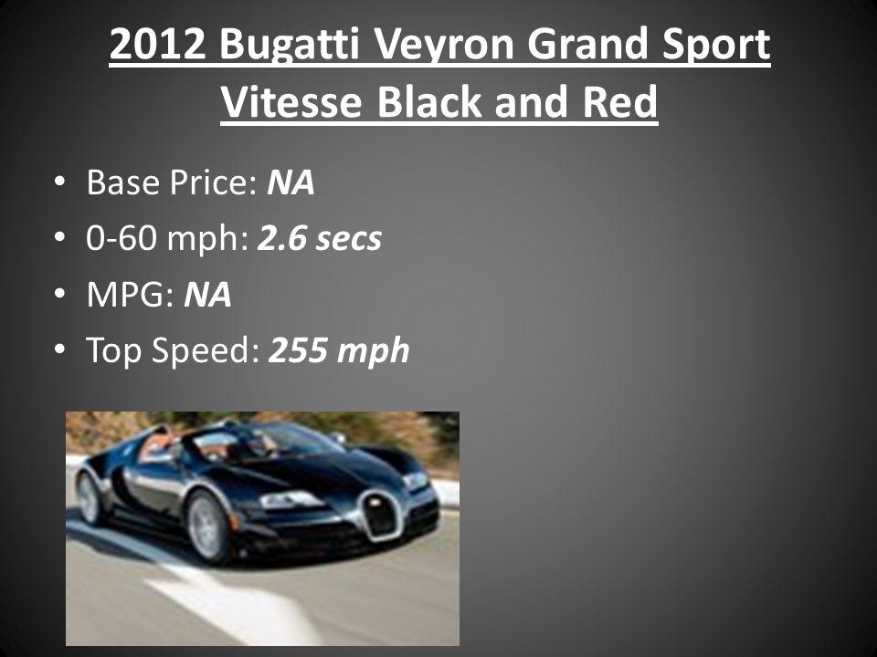 2012 Bugatti Veyron Grand Sport Vitesse Black and Red Base Price: NA 0-60 mph: 2.6 secs MPG: NA Top Speed: 255 mph