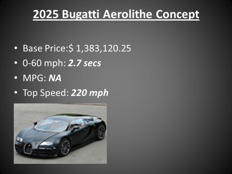 2025 Bugatti Aerolithe Concept Base Price:$ 1,383,120.25 0-60 mph: 2.7 secs MPG: NA Top Speed: 220 mph