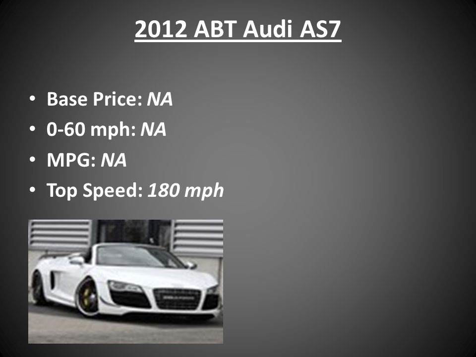 2012 ABT Audi AS7 Base Price: NA 0-60 mph: NA MPG: NA Top Speed: 180 mph