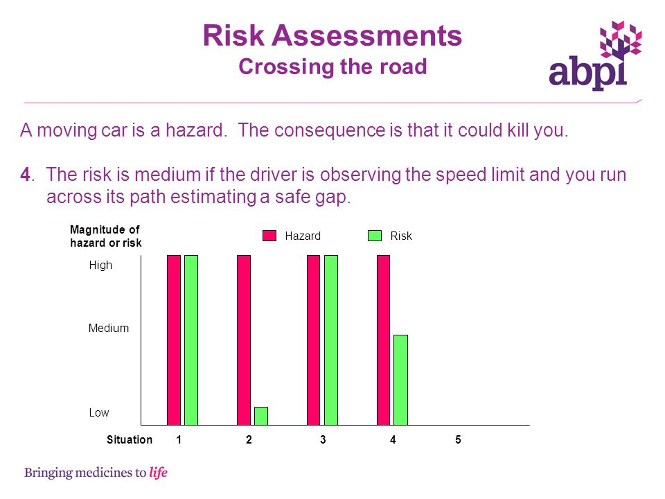 Risk Assessments Crossing the road A moving car is a hazard.