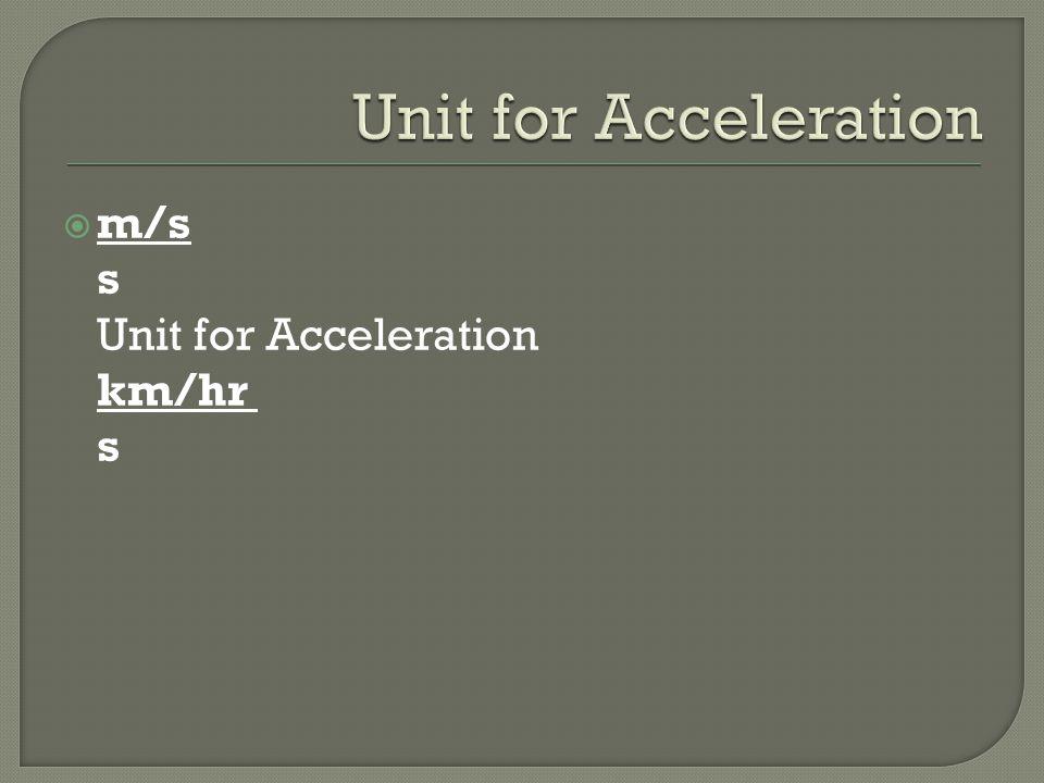 m/s s Unit for Acceleration km/hr s