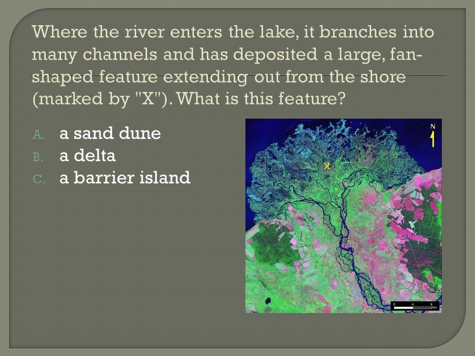 A. a sand dune B. a delta C. a barrier island