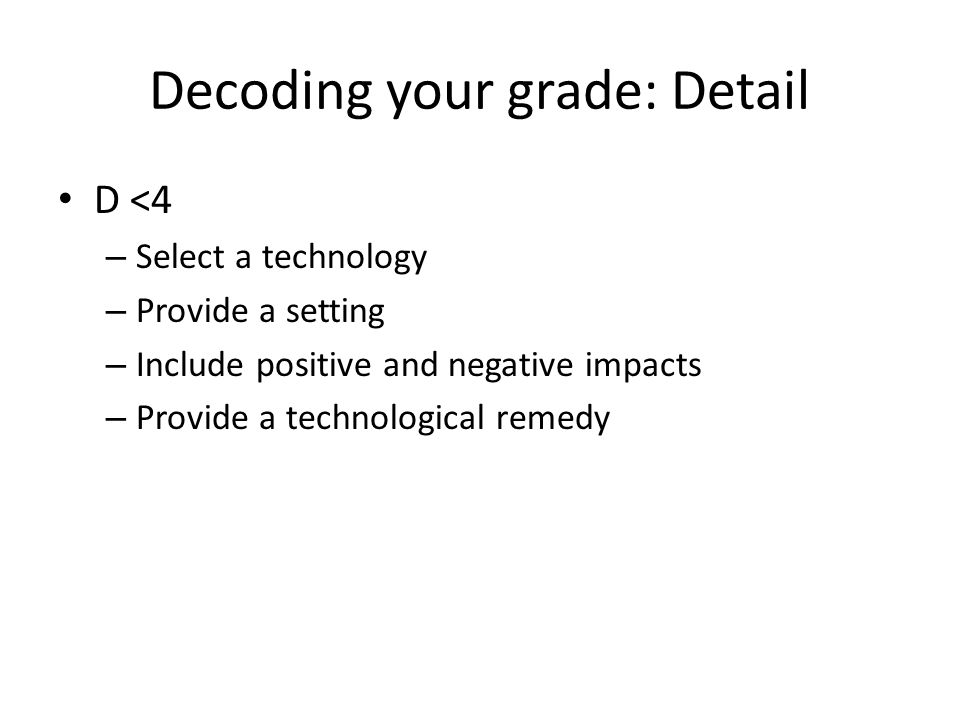 Decoding your grade: Detail D <4 – Select a technology – Provide a setting – Include positive and negative impacts – Provide a technological remedy
