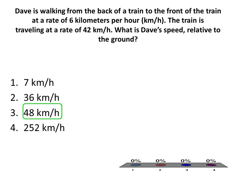 Dave is walking from the back of a train to the front of the train at a rate of 6 kilometers per hour (km/h). The train is traveling at a rate of 42 k
