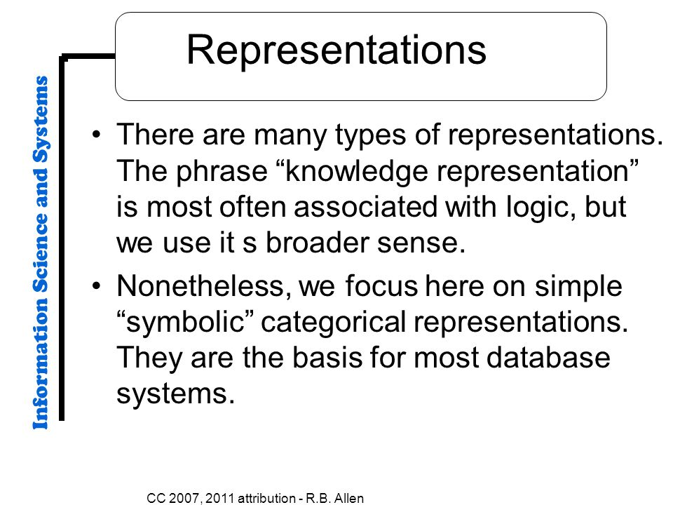 CC 2007, 2011 attribution - R.B. Allen Representations There are many types of representations. The phrase knowledge representation is most often asso