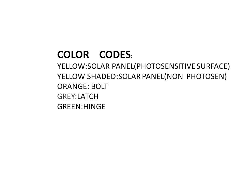 COLOR CODES : YELLOW:SOLAR PANEL(PHOTOSENSITIVE SURFACE) YELLOW SHADED:SOLAR PANEL(NON PHOTOSEN) ORANGE: BOLT GREY:LATCH GREEN:HINGE