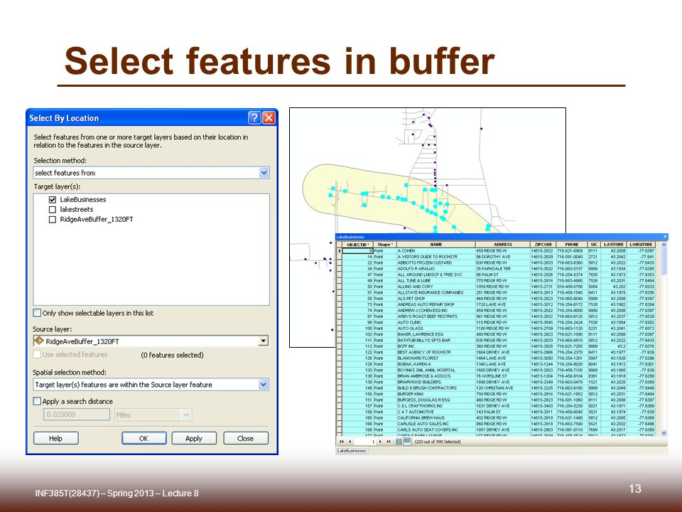 Select features in buffer INF385T(28437) – Spring 2013 – Lecture 8 13