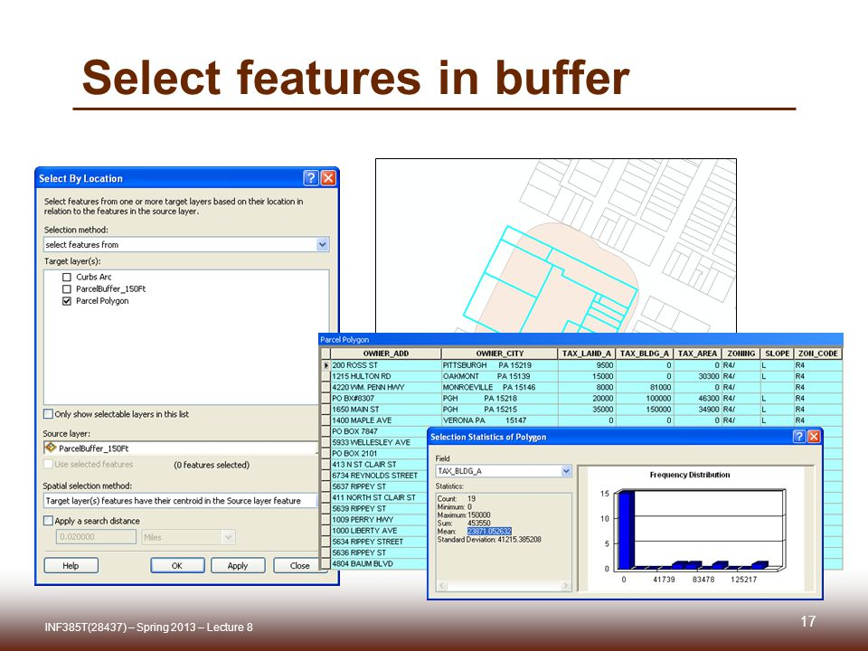 Select features in buffer INF385T(28437) – Spring 2013 – Lecture 8 17