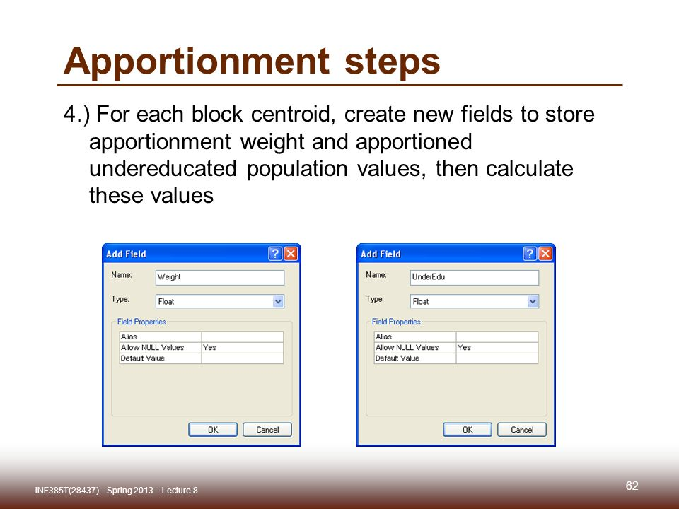 Apportionment steps 4.) For each block centroid, create new fields to store apportionment weight and apportioned undereducated population values, then calculate these values INF385T(28437) – Spring 2013 – Lecture 8 62