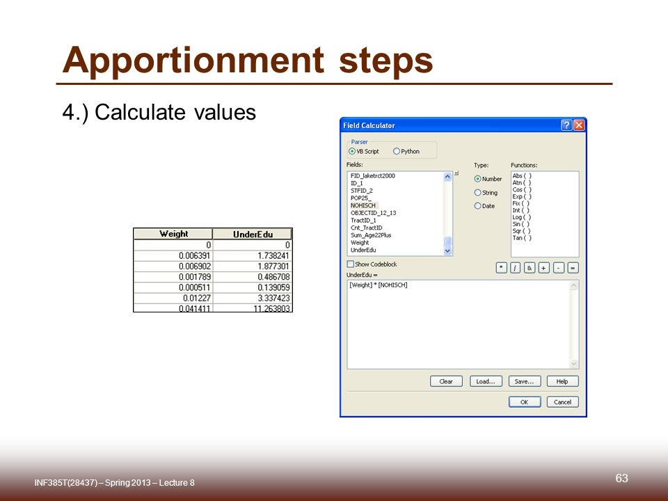Apportionment steps 4.) Calculate values INF385T(28437) – Spring 2013 – Lecture 8 63