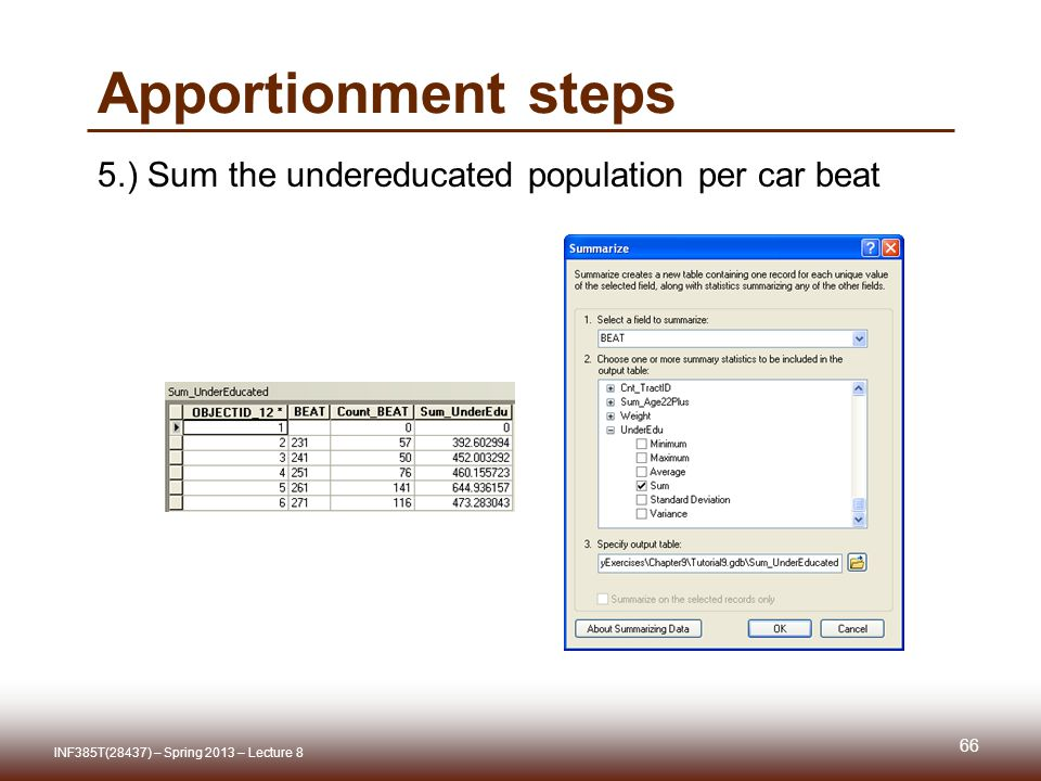 Apportionment steps 5.) Sum the undereducated population per car beat INF385T(28437) – Spring 2013 – Lecture 8 66