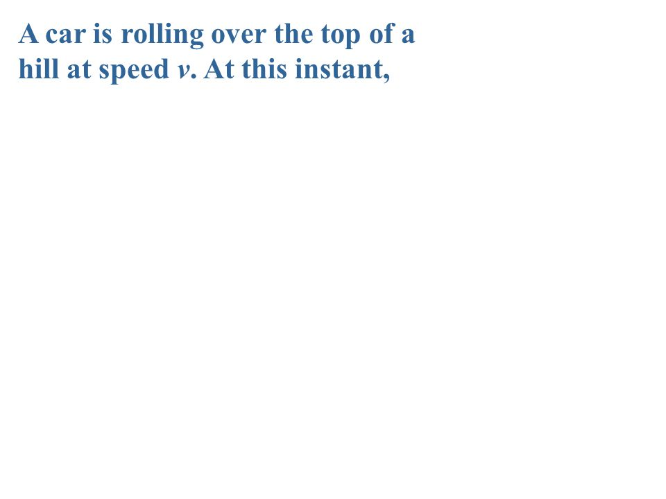 A car is rolling over the top of a hill at speed v. At this instant,