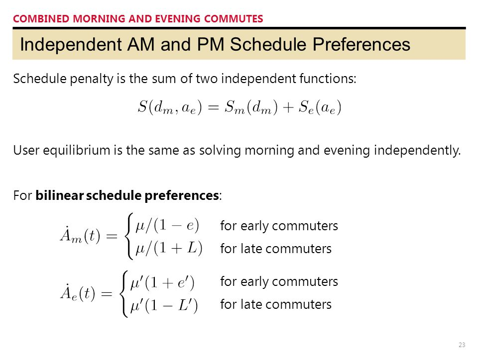 23 Independent AM and PM Schedule Preferences COMBINED MORNING AND EVENING COMMUTES Schedule penalty is the sum of two independent functions: User equilibrium is the same as solving morning and evening independently.
