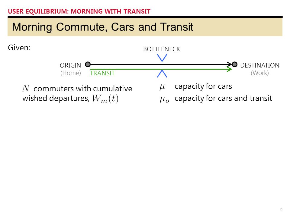6 Morning Commute, Cars and Transit USER EQUILIBRIUM: MORNING WITH TRANSIT ORIGIN (Home) DESTINATION (Work) BOTTLENECK Given: TRANSIT capacity for cars capacity for cars and transit commuters with cumulative wished departures,