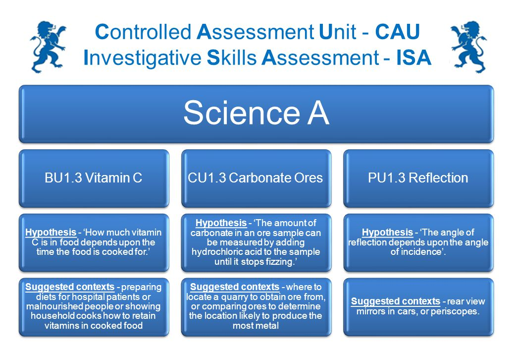 Controlled Assessment Unit - CAU Investigative Skills Assessment - ISA You may be asked a question similar to this in the section 2 exam: In your investigation you changed the concentration / mass of X.