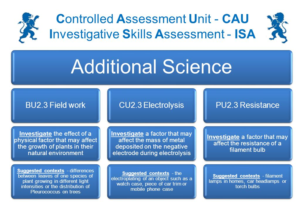 Controlled Assessment Unit - CAU Investigative Skills Assessment - ISA Producing a graph or bar chart: You will be required to draw a graph or bar chart of your results 6 Complete practical and draw a graph of your results MarksAnswerAdditional guidance 1 X axis: suitable scales chosen and labelled with quantity and units.