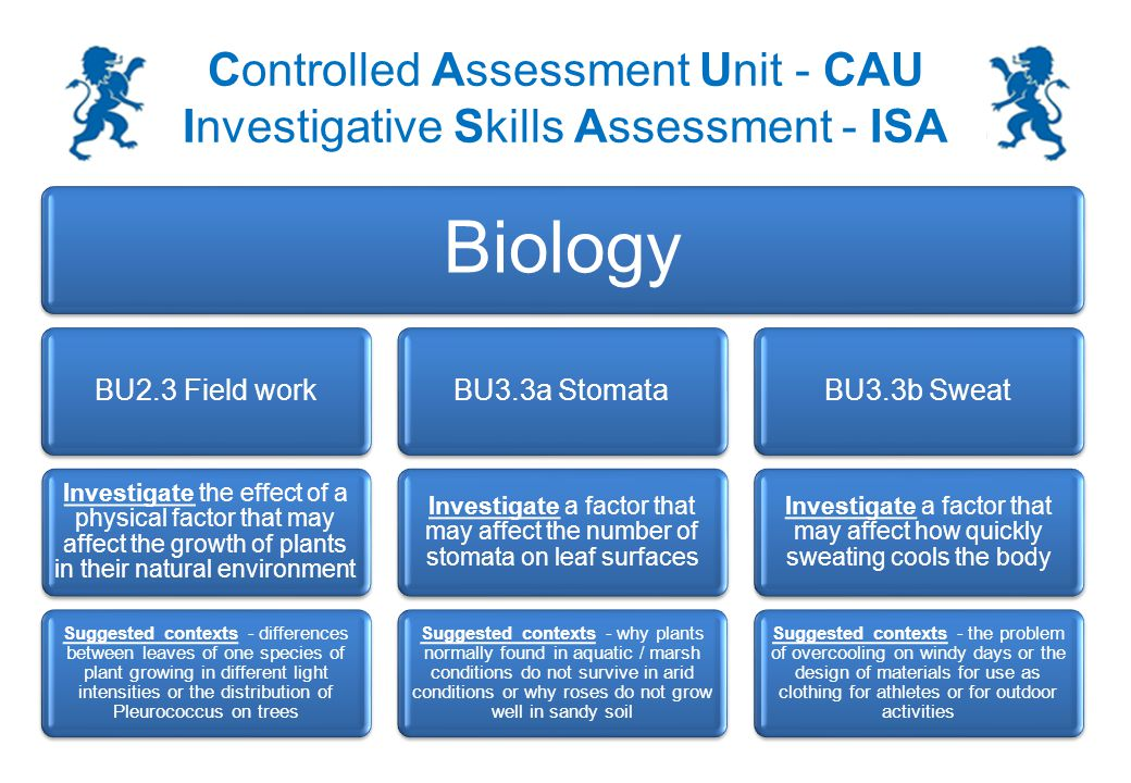 Controlled Assessment Unit - CAU Investigative Skills Assessment - ISA 7 ISA section 2 exam – Additional / Separate Science An example of a good answer