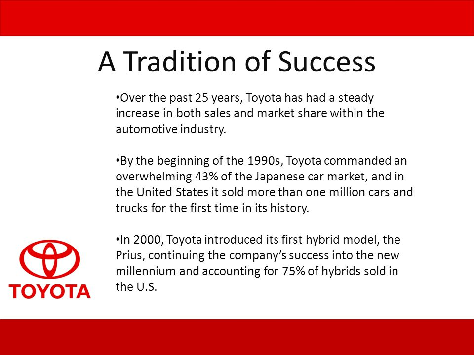 Toyota has, for the past few years, has been expanding its business rapidly.