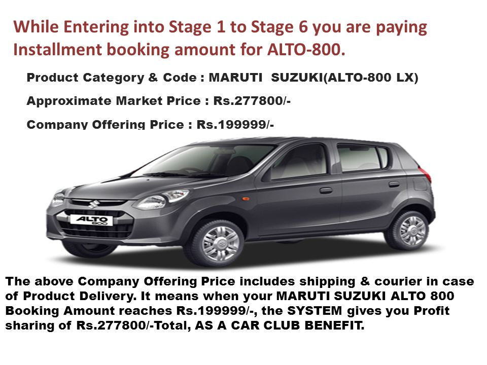 While Entering into Stage 1 to Stage 6 you are paying Installment booking amount for ALTO-800.