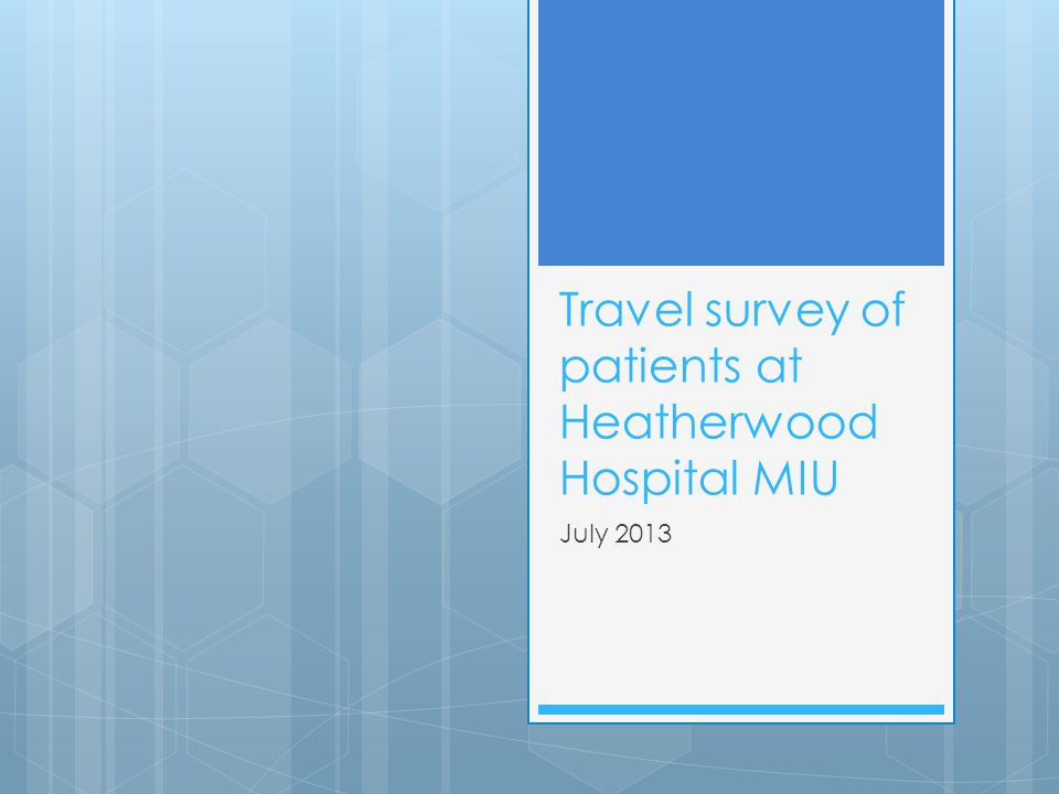 Travel survey of patients at Heatherwood Hospital MIU July 2013