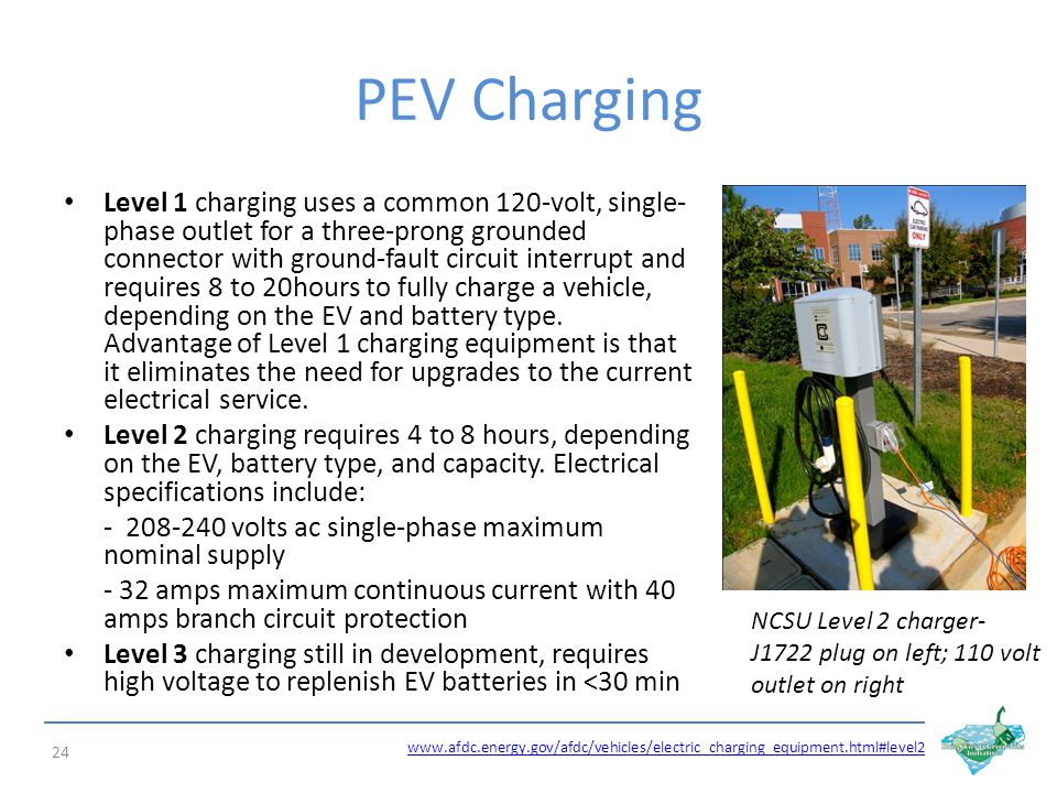 PEV Charging Level 1 charging uses a common 120-volt, single- phase outlet for a three-prong grounded connector with ground-fault circuit interrupt and requires 8 to 20hours to fully charge a vehicle, depending on the EV and battery type.