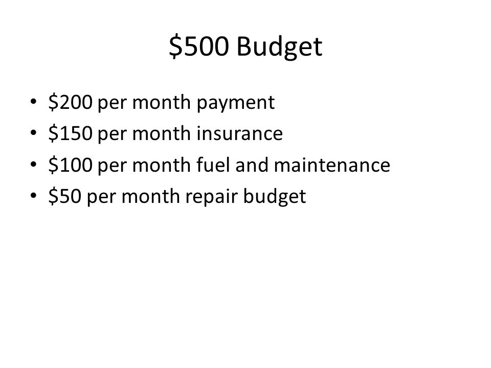 $500 Budget $200 per month payment $150 per month insurance $100 per month fuel and maintenance $50 per month repair budget