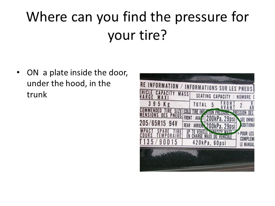 Where can you find the pressure for your tire.