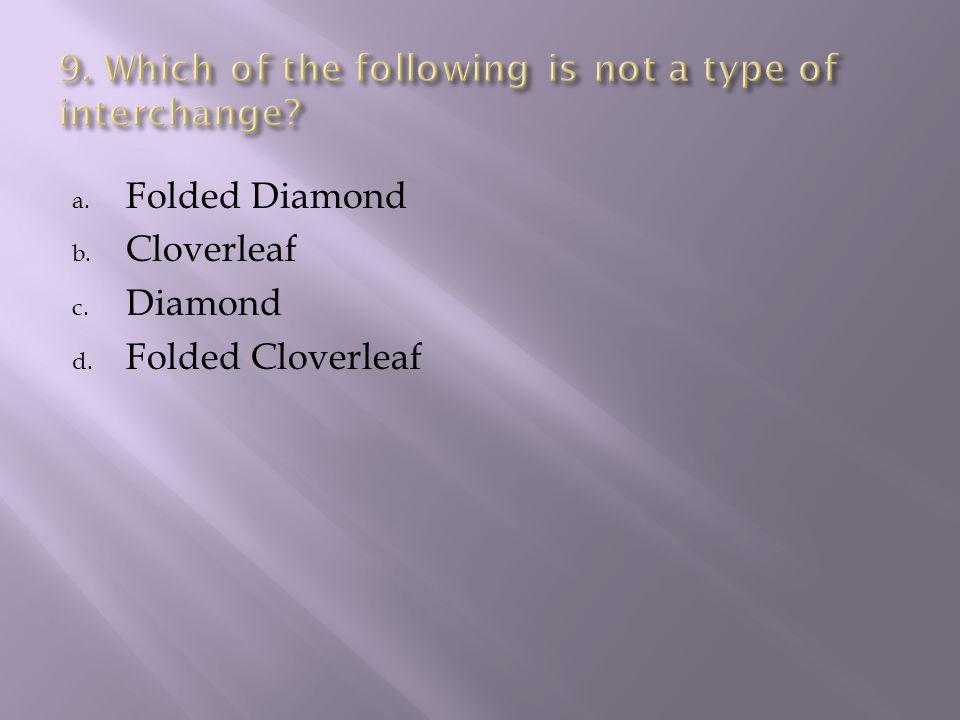 a. Folded Diamond b. Cloverleaf c. Diamond d. Folded Cloverleaf