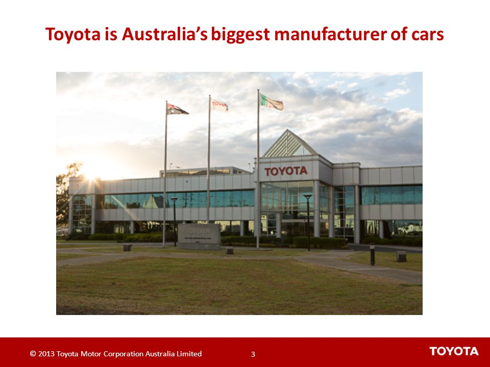 © 2013 Toyota Motor Corporation Australia Limited 14 © 2013 Toyota Motor Corporation Australia Limited 14 Case Study: VSD Drives - Results After Kaizen – Supply Fan: Reduced frequency from 50 Hz to 45 Hz and then 40 Hz Power reduction from 50kW to 28 kW 50HZ 45HZ 40HZ