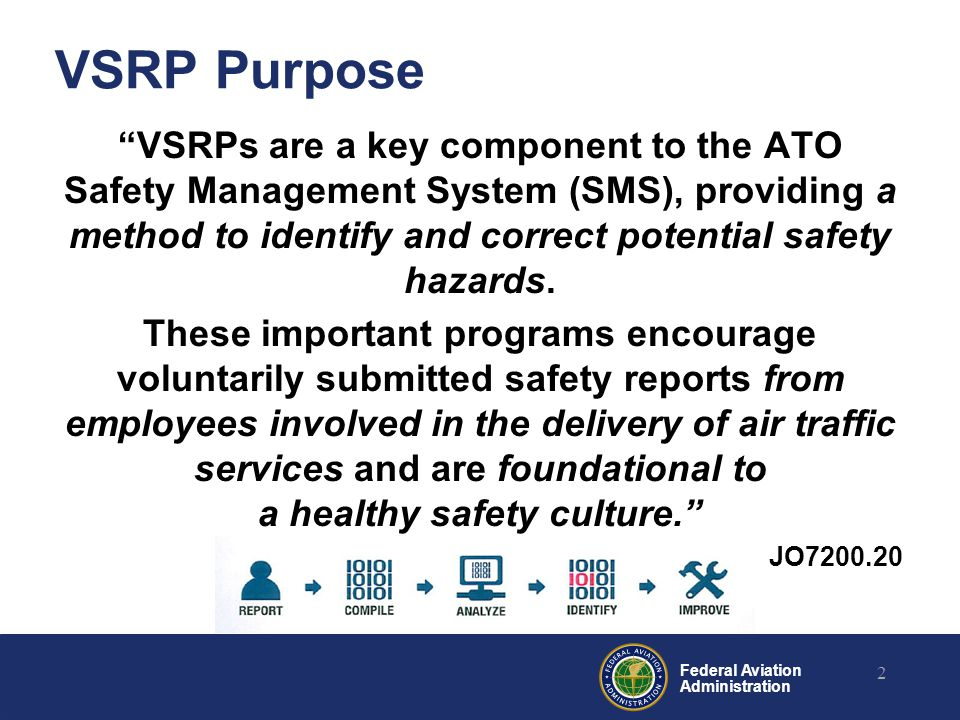 Federal Aviation Administration Move from compliance-based mode of error management to voluntary, participatory investigation programs Encourage reporting in order to gather as much data as possible Administer individual and systemic corrective action appropriately to serve the best interests of safety VSRP Goals 3