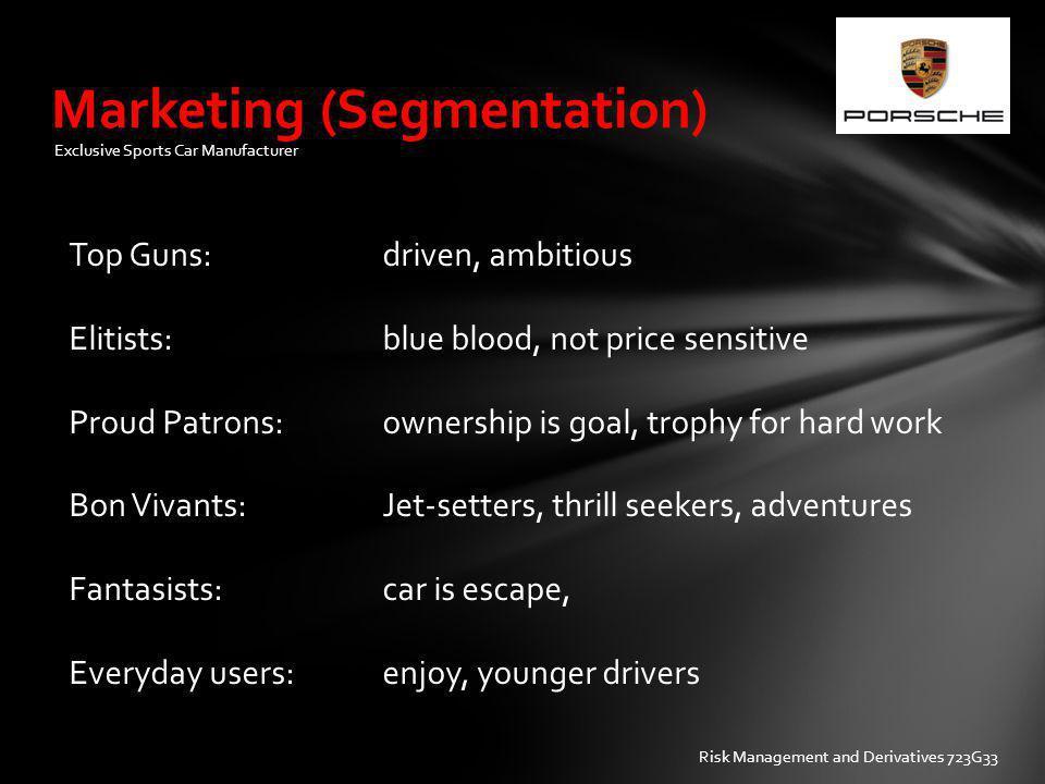 Marketing (Segmentation) Exclusive Sports Car Manufacturer Top Guns: driven, ambitious Elitists: blue blood, not price sensitive Proud Patrons:ownersh