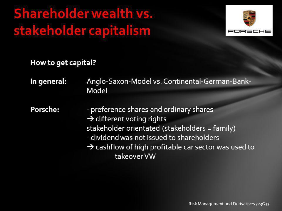 Shareholder wealth vs. stakeholder capitalism How to get capital? In general: Anglo-Saxon-Model vs. Continental-German-Bank- Model Porsche: - preferen