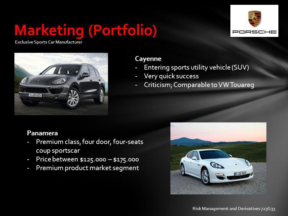Marketing (Portfolio) Cayenne -Entering sports utility vehicle (SUV) -Very quick success -Criticism; Comparable to VW Touareg Panamera -Premium class,