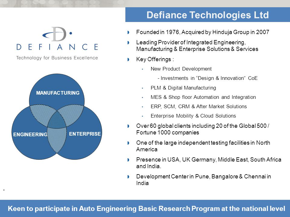 © Defiance Technologies Ltd 2011 # 13.