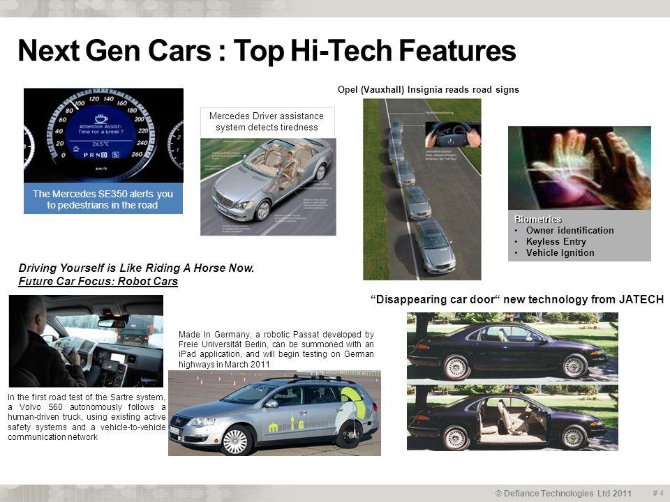 © Defiance Technologies Ltd 2011 Besides Hi-Tech it will be Green Cars # 5 Key drivers..