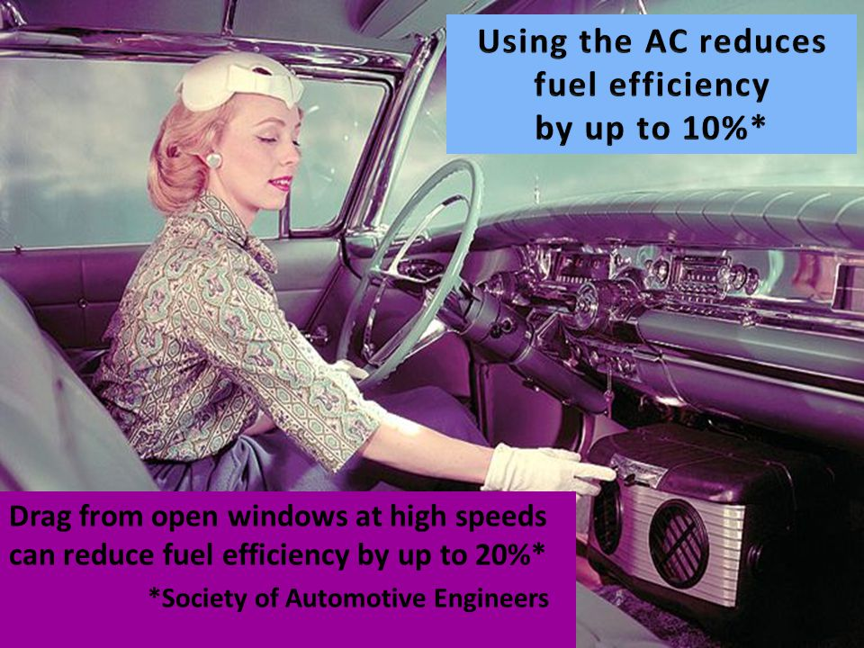 Drag from open windows at high speeds can reduce fuel efficiency by up to 20%* *Society of Automotive Engineers