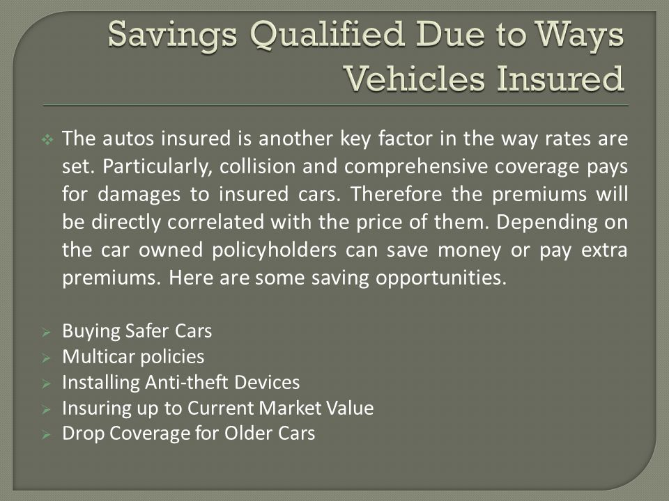 The autos insured is another key factor in the way rates are set. Particularly, collision and comprehensive coverage pays for damages to insured cars.