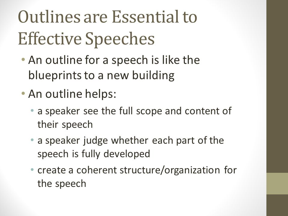 Outlines are Essential to Effective Speeches An outline for a speech is like the blueprints to a new building An outline helps: a speaker see the full