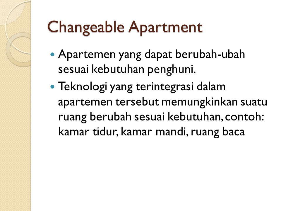 Changeable Apartment Apartemen yang dapat berubah-ubah sesuai kebutuhan penghuni.