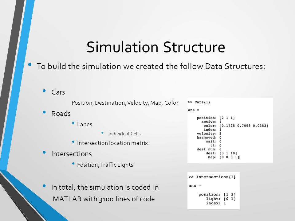 Simulation Dynamics Cars are spawned randomly They follow an randomly generated path to destination Cars follow normal traffic rules Road Cells are discretized to easily simulate traffic, only one car can exist in each road cell.