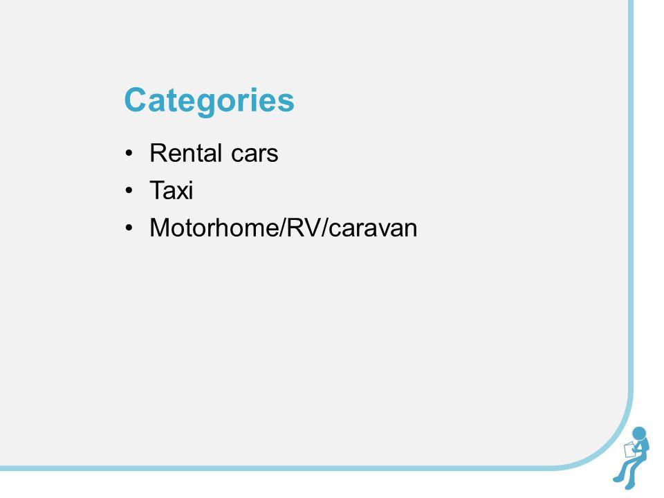 Rental cars Taxi Motorhome/RV/caravan Categories