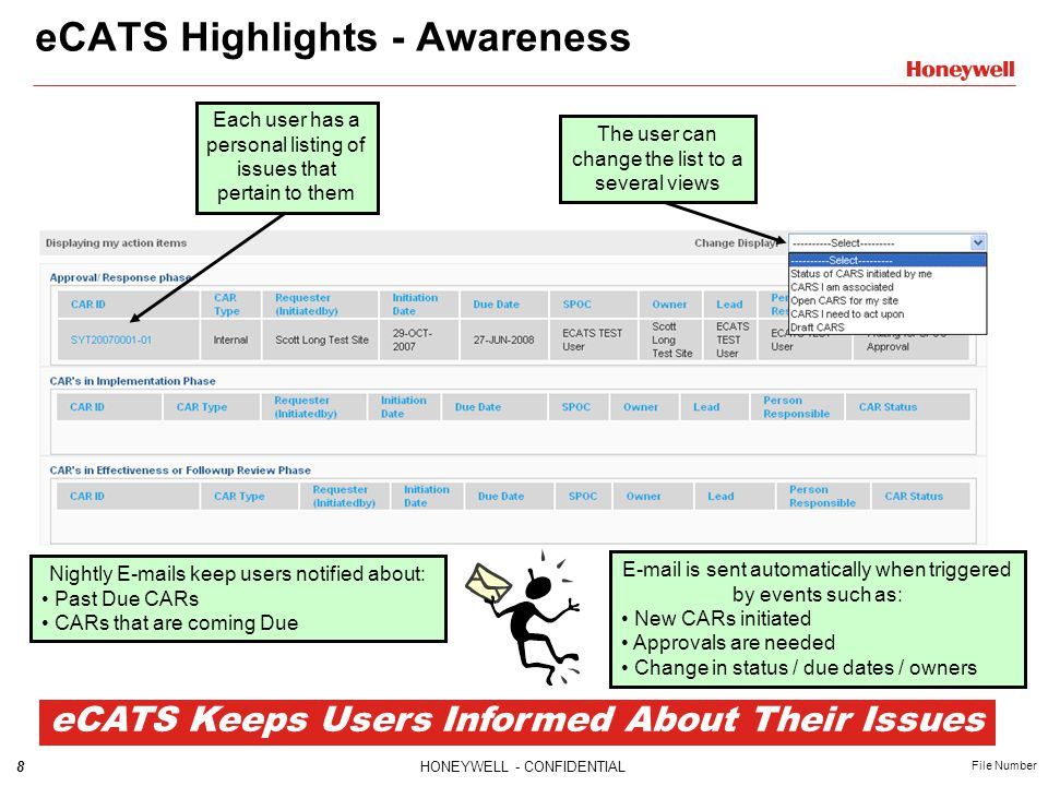 8HONEYWELL - CONFIDENTIAL File Number eCATS Highlights - Awareness Each user has a personal listing of issues that pertain to them E-mail is sent auto