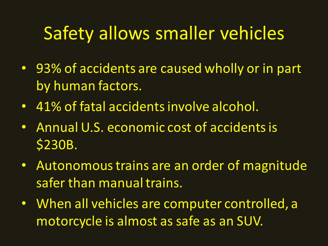 Safety allows smaller vehicles 93% of accidents are caused wholly or in part by human factors.