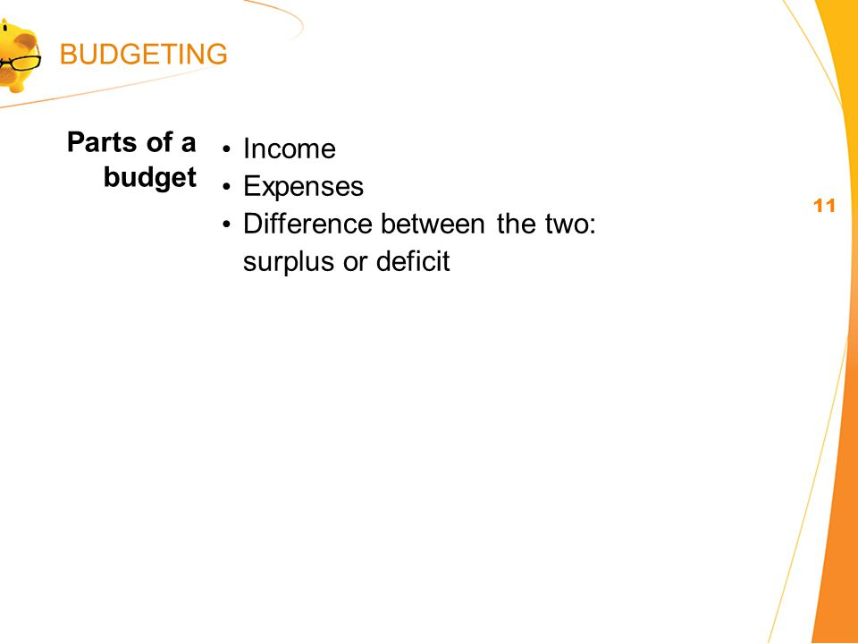 Income Expenses Difference between the two: surplus or deficit Parts of a budget 11 BUDGETING