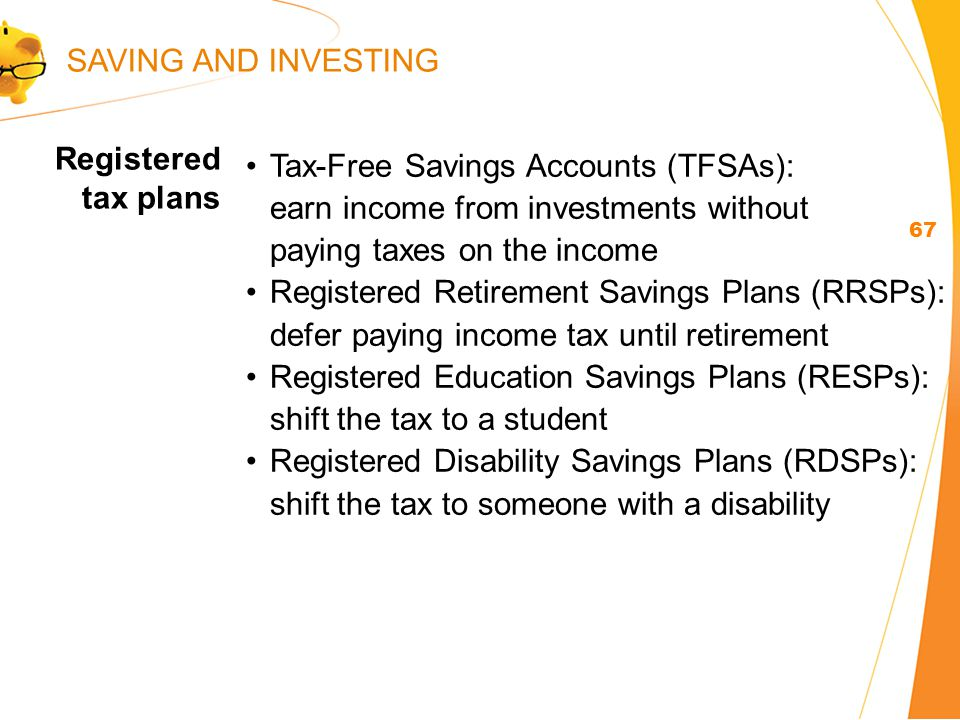 Registered tax plans 67 Tax-Free Savings Accounts (TFSAs): earn income from investments without paying taxes on the income Registered Retirement Savings Plans (RRSPs): defer paying income tax until retirement Registered Education Savings Plans (RESPs): shift the tax to a student Registered Disability Savings Plans (RDSPs): shift the tax to someone with a disability SAVING AND INVESTING