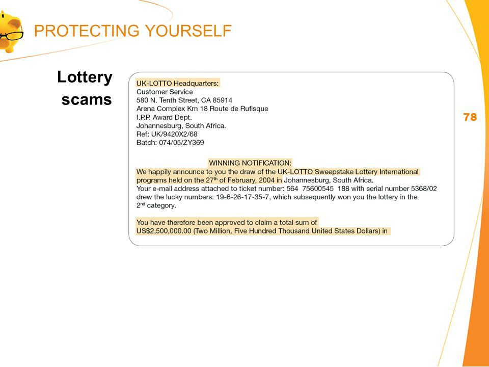 Lottery scams 78 PROTECTING YOURSELF