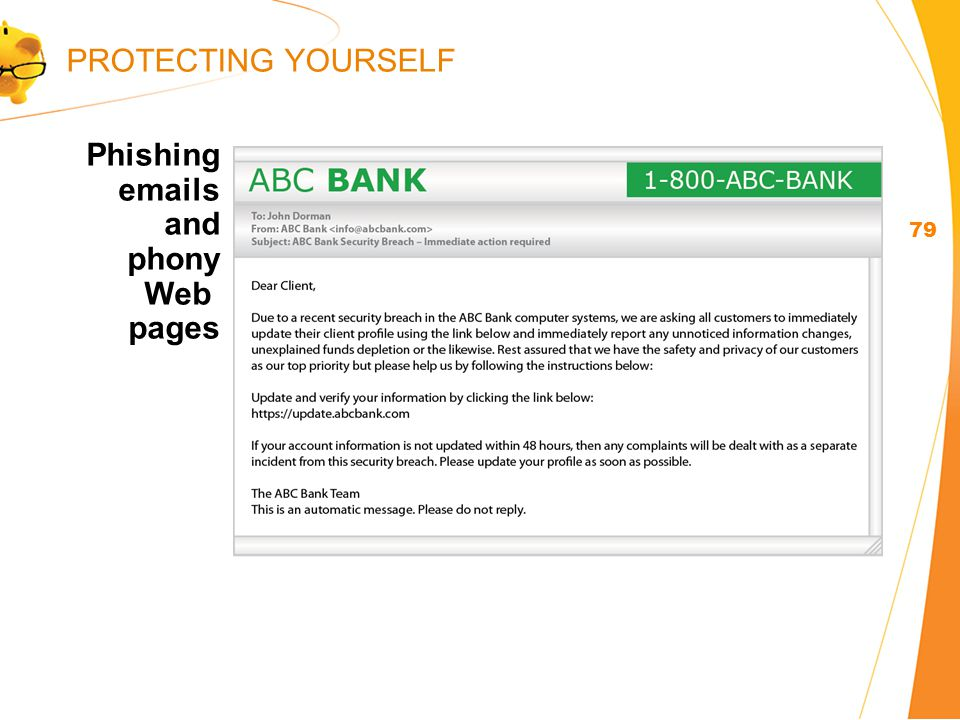 Phishing  s and phony Web pages 79 PROTECTING YOURSELF
