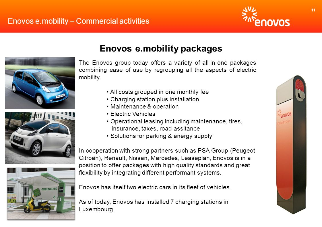 11 The Enovos group today offers a variety of all-in-one packages combining ease of use by regrouping all the aspects of electric mobility.